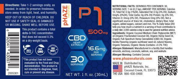 pHAZE Naturals 500mg CBD Oil