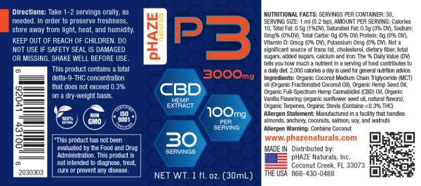 pHAZE Naturals 3000mg Full Spectrum Hemp CBD Oil Tincture (30mL)