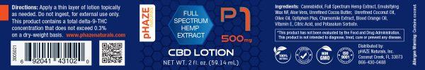 pHAZE Naturals 500mg Full Extract Hemp CBD Lotion