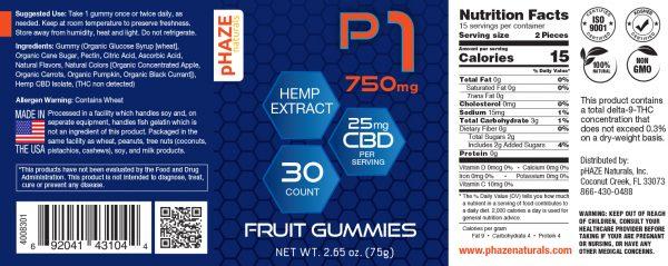 pHAZE Naturals 750mg Hemp Extract Fruit CBD Gummies (30 count) pHAZE 1
