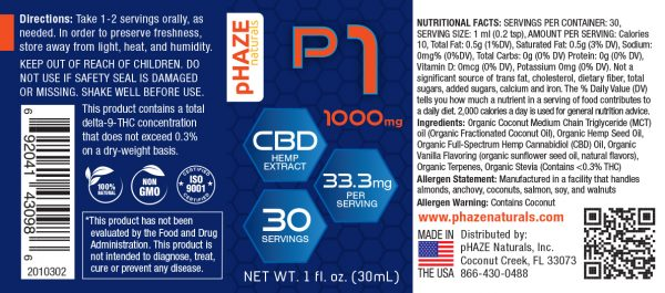 pHAZE Naturals 1000mg Full Spectrum Hemp CBD Oil Tincture (30mL)