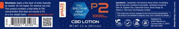 pHAZE Naturals 1000 mg Full Extract Hemp CBD Lotion