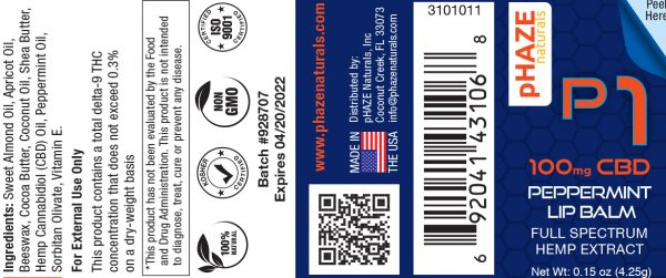 100mg Peppermint CBD Lip Balm (0.15oz) - pHAZE 1
