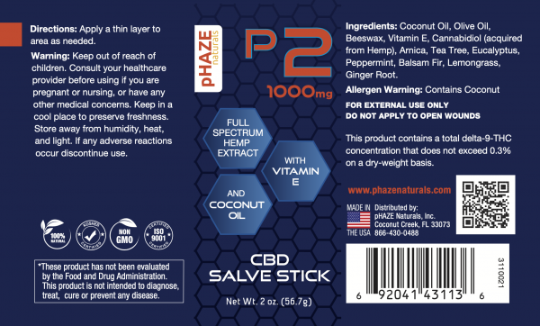 pHAZE Naturals 1000mg Full Spectrum Hemp Extract CBD Salve Stick (2oz)