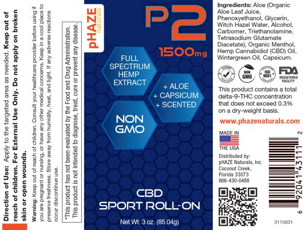 1500mg Full Spectrum Hemp CBD Sport Roll On (3oz)