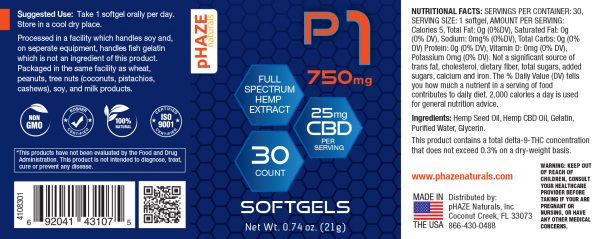 pHAZE Naturals 750mg Full Spectrum Hemp Extract CBD Softgels (30 count)
