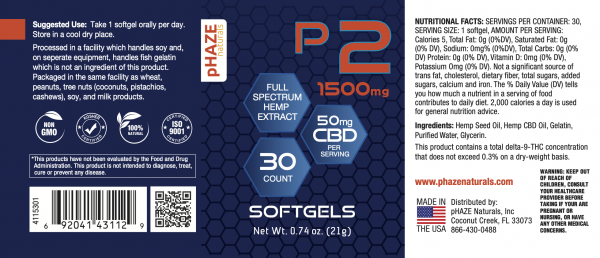 pHAZE Naturals 1000mg Full Spectrum Hemp Extract CBD Softgels (30 count)