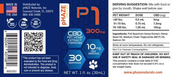 300mg Hemp Extract CBD Oil for Pets (30mL) - pHAZE Naturals
