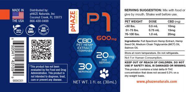 CBD Oil for Pets - 20mg CBD - pHAZE 1